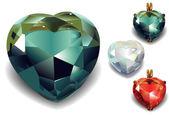 Uppsättning av glänsande valentines diamond hjärtan. — Stockvektor