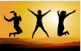 Silhouet van gelukkige springen mensen. — Stockvector