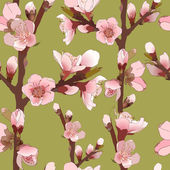 Seamless Pattern With Blossoming Pink Flowers. — Stockvector