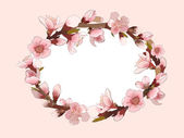 Background With Blossoming Pink Flowers. — Stock Vector