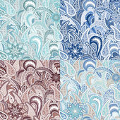 Set of Four Seamless Pattern with Paisley. — Stock vektor