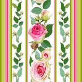 Seamless pattern with roses and stripes. — Stock Vector