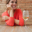 Stock Photo: Woman and a glass of white wine