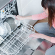 Beautiful womusing dishwasher in modern kitchen. domestic appliance — Stock Photo #33486967