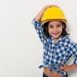 One little girl playing at being worker — Stock Photo