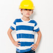 One little boy playing at being worker — Stock Photo