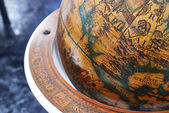 Detail of a wood globe — Stock Photo
