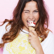 Sensual girl eating up a ice cream cone — Stock Photo