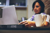 Woman Working with Her Laptop — Stock Photo
