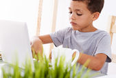 Back to School. Little boy using his laptop — Stock Photo