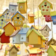 Many wooden birdhouses — Stock Photo