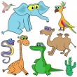 Set Of Cartoon Animals Vector Illustration — Stock Vector