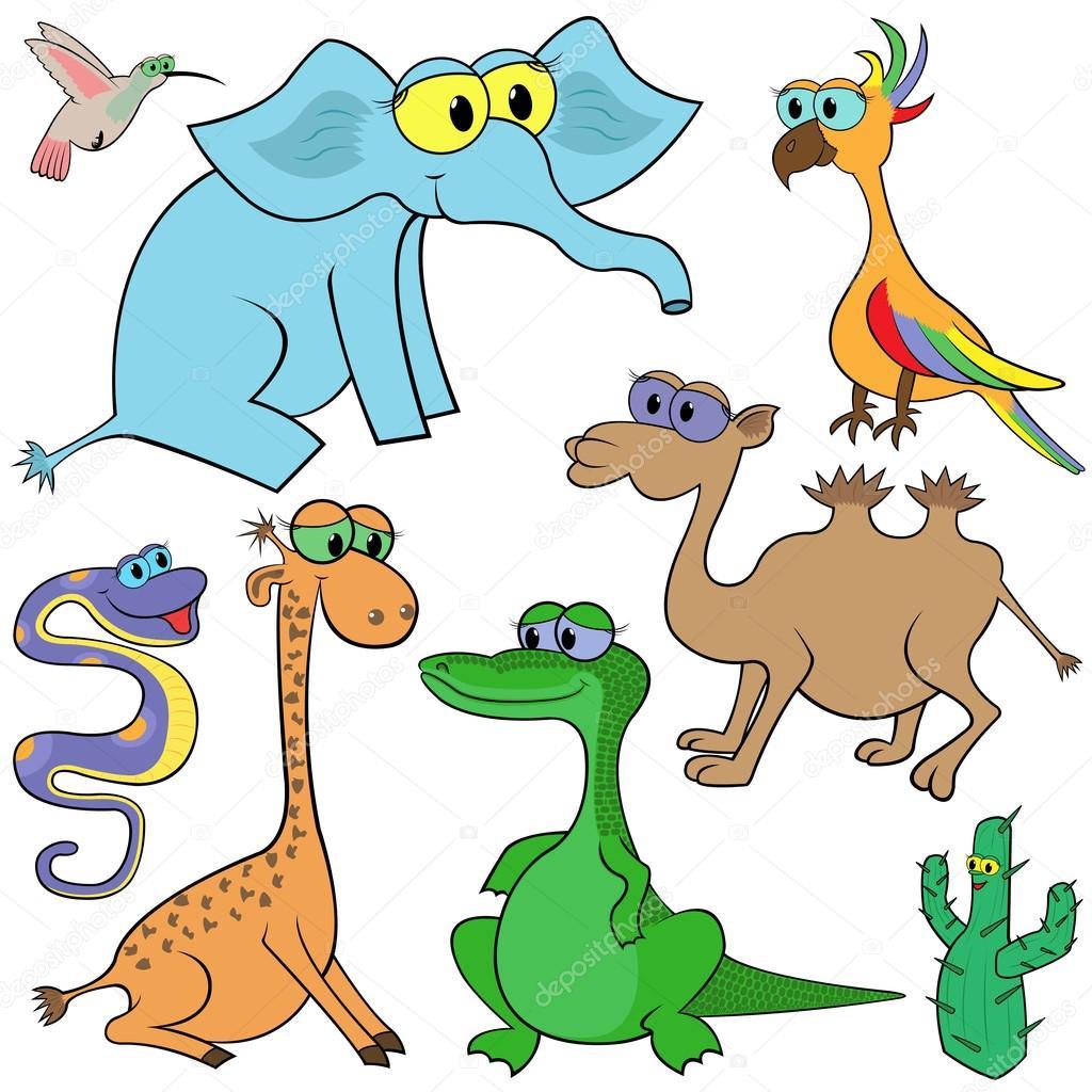 Set of cartoon animals vector illustration stock illustration