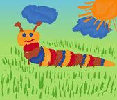 Caterpillar On Meadow — Stock Vector