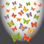 Cartoon butterflies in a light space — Stock Vector #32254065