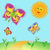 Fairy Butterflies and Sun over meadow — Stock Vector