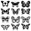 Set of butterfly silhouettes — Stock Vector