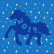 Blue Horse silhouette on stars background — Stock Vector