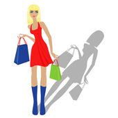 Fashion blond model with shopping bags — Stock Vector