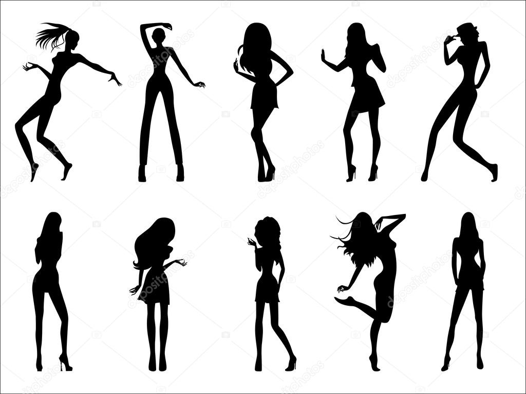 Fashionable model silhouettes — Stock Vector © natreal #34331347