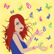 Woman with butterflies around her — Stock Vector