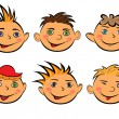 Set of six funny boys faces — Stock Vector