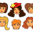 Set of six cartoon women faces — Stock Vector