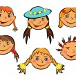 Set of six funny girls faces — Stock Vector
