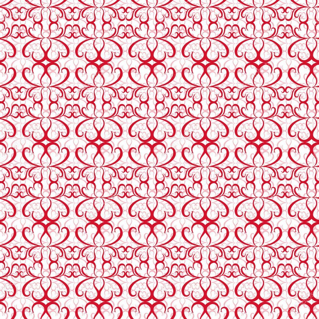 程式化的心,手绘矢量图的无缝旋流模式– 图库插图