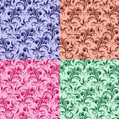 Four stylized swirl floral patterns — Vector de stock