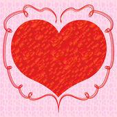 Pembe bir arka plan üzerinde kırmızı güllü kalp — Stok Vektör