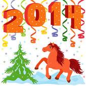 Nuovo anno 2014 e simbolo dell'anno un cavallo — Vettoriale Stock