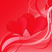 Two red hearts on a red abstract background — Stock Vector