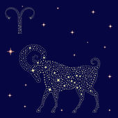 Zodiac sign Aries on the starry sky — Stock Vector