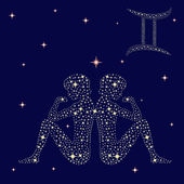 Zodiac sign Gemini on the starry sky — Stock Vector