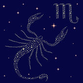 Zodiac sign Scorpio on the starry sky — Stock Vector