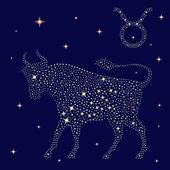 Zodiac sign Taurus on the starry sky — Stock Vector
