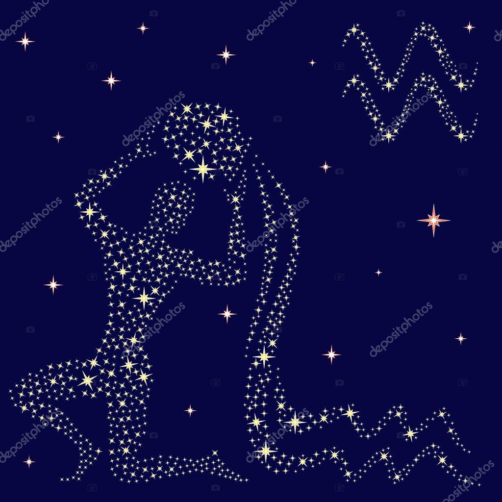 Sternzeichen Wassermann auf den Sternenhimmel zu