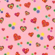 Seamless pattern with various colorful hearts — Stock Vector