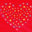 Heart with stars on red background — Stock Vector #39725899