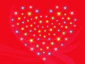 Heart with stars on red background — Stock vektor