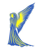 Female angel in yellow and blue symbolize the Ukraine — Stock Vector