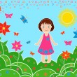 Small girl on the meadows in sunny summer day — Stock Vector