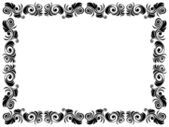 Black and white frame of blank with floral elements — Vector de stock
