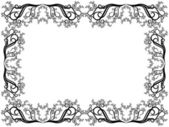 Black and white frame with floral elements — Vector de stock
