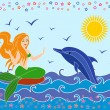 Dolphin and Mermaid in the sea waves — Stock Vector
