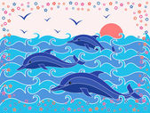 Three Dolphins in the sea waves — Stock Vector