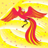 Graceful Firebird on abstract background — Stock Vector