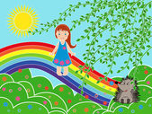 Small girl on the rainbow in sunny summer day — Stock Vector