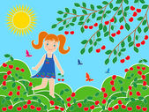 Small girl near cherry tree in sunny summer day — Stock Vector